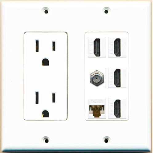 Wallplate City - 2 Gang 15 Amp Power Outlet, 4 Port HDMI 1 x Cat6 Ethernet 1 x Coax Wall Plate