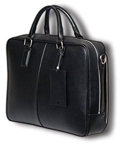 BfB Laptop Messenger Bag For Men - Designer Business Computer Bag Or Attorney Briefcase - Ideal For Work And Travel - Black