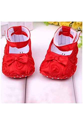 Zapatos - SODIAL(R)zapatos comodos de nino pequeno de princesa antideslizantes(0-6 meses, rojo)