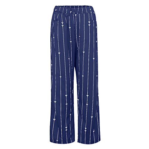 (TIFENNY Straight Wide Leg Pants for Women Stripe Print Elastic Force Pocket Broad-Legged Trousers Summer Loose Pants Blue)
