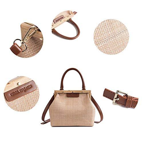 3 Small Bolso Bag Opcionales 9CM Square Larga De Literary Vintage Woven Brown 21 Versátil Cadena XRKZ Crossbody Bag Bolso 18 White Simple Straw Colores HxYtdFqFw