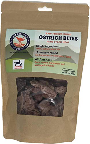 Raw Freeze-Dried Ostrich STEAK BITES for Pets: Single Ingredient, All-American Beef Muscle Pet Treats