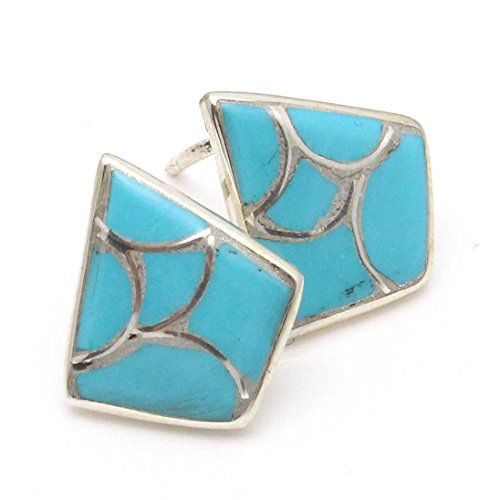 - Zuni Trapezoid Shaped Sterling Silver Stud Earrings Featuring Turquoise Inlay by Leekya