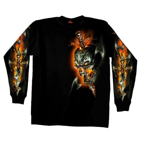 Hot Leathers Electric Skull Long Sleeve Biker T-Shirt (Black, XX-Large)
