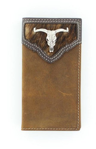 (Nocona Boy's Calf Hair Rodeo Steer Head Concho Wallet, Medium Brown Distressed, OS )