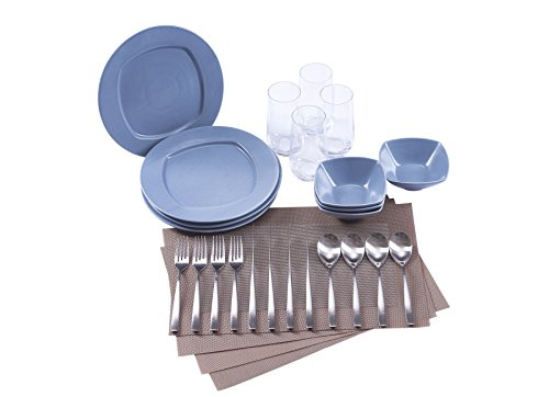 The Oslo Collection by Ensemble - Designer Curated Place Setting for 4 (Dinnerware, Glassware, Flatware and (Dinnerware Set Four Place Settings)