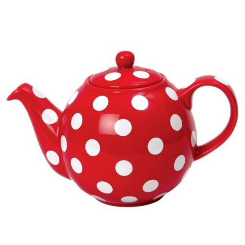 Globe Teapot Red with White Spots 6 Cup