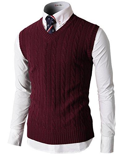 Vest Sweater (H2H Men Slim Fit Plus Size Elasticity Cotton Knit Vest Wine US M/Asia L (KMOV037))