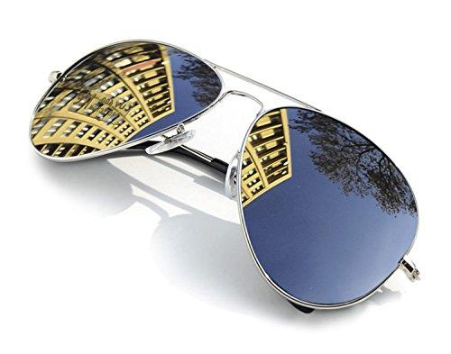 Diseño Para de Retro de y Silver Gafas Lente Hombre Sol con 4sold Moda Mujer Completo UV400 plateado Para nIAq0vwx6g