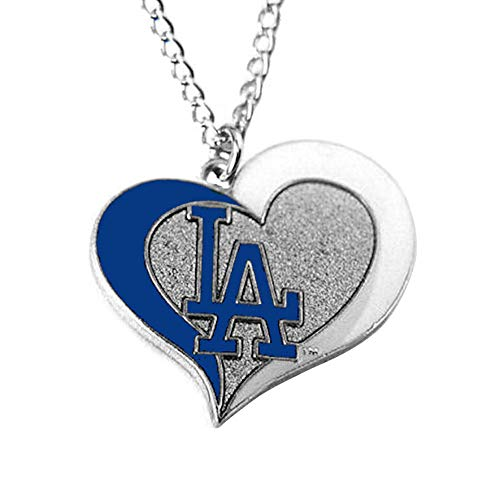 aminco MLB Los Angeles Dodgers Swirl Heart Necklace ()
