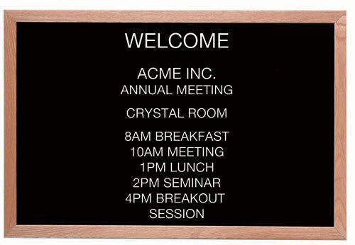 Aarco AOFD2436L Message Center Board, 36''W x 24''H, open face, black felt panel by Aarco Products Inc