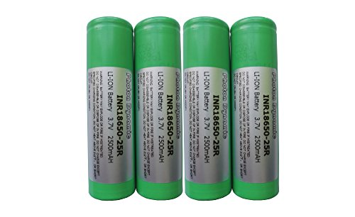 PhotonDynamic 18650 Rechargeable Batteries INR18650-25R 2500mAh 3.7v 20A Discharge Li-ion 18650 Flat Top Battery (4PCS)