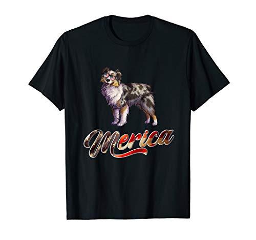 Miniature Australian Shepherd Breed Dog America Flag Shirt ()