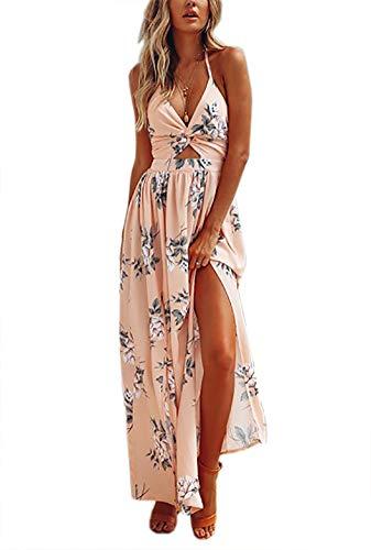(LKOUS Women's Casual Summer Sexy V Neck Sleeveless Backless Split Beach Halter Bodycon Long Maxi Dress Pink XL)