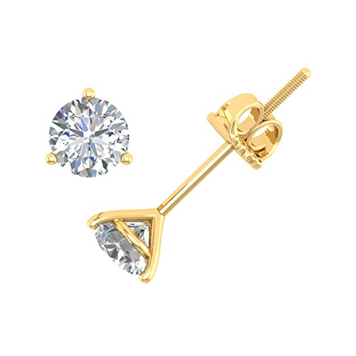 IGI Certified 1/4 Carat 3 Prong Martini Round Diamond Stud Earrings in 14k Yellow Gold - Diamond Martini Stud