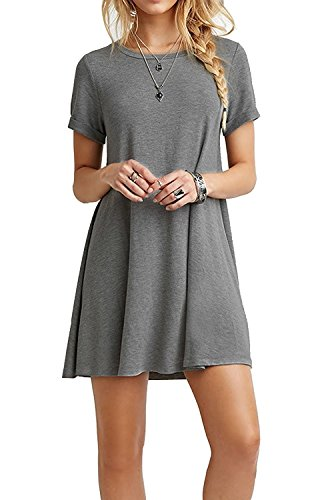 Women's Short Sleeve Casual Loose Swing Basic Cotton Simple Tunic T-shirt Dresses