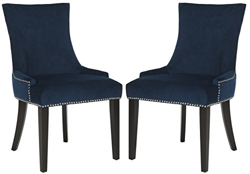 Safavieh Mercer Collection Lester Navy/Espresso Dining Chair (Set of 2), Grey/White (Dining Chairs Blue Velvet)