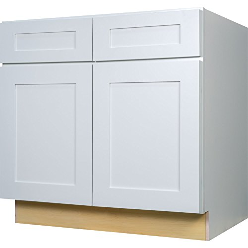 Everyday Cabinets 36 Inch Base Cabinet in Bright White Shaker with 2 Soft Close Drawers & 2 Soft Close Doors & 1 Shelf 36″ RTA