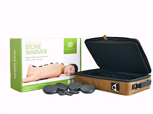 Massage Stone Set Electric Heater professional Portable Salon Case, 16pcs Hot Stone Massage - by Tranquility Massage Stone