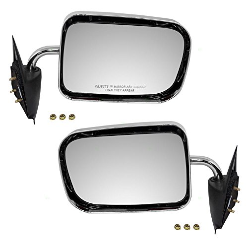 Driver and Passenger Manual Side View Mirrors 6x9 Standard Mount Chrome Replacement for Dodge Pickup Truck 55022241 55022240 AutoAndArt