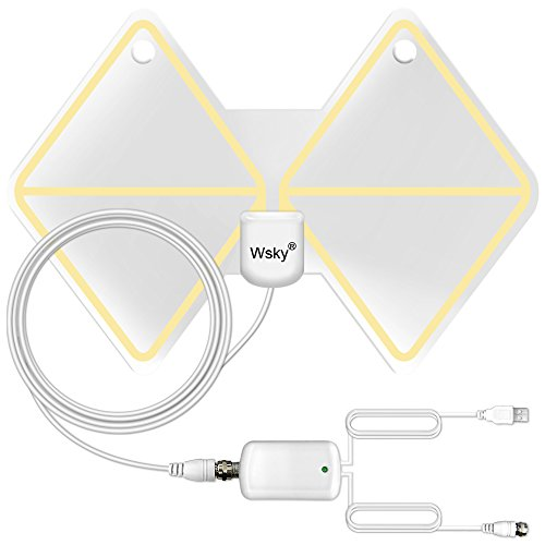 Wsky 50 Miles Digital HDTV Antenna - Best Hdtv Antenna Indoor - Upgraded Built-in Amplifier Silver Paddle Extremely High Reception - Super FUN and FREE for LIFE!