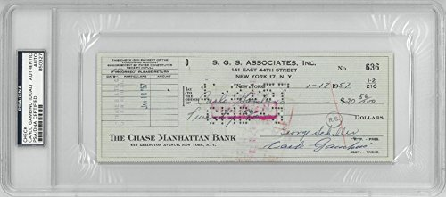 Carlo Gambino Mafia Dual Signed (2x) Authentic Autographed Check PSA/DNA #B50327