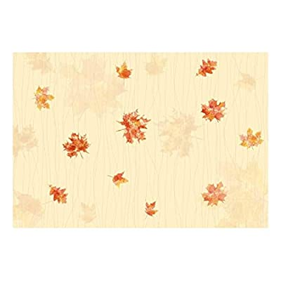 Maple Leaves with Soft Yellow Textured Background - Wall Mural, Removable Sticker, Home Decor - 66x96 inches