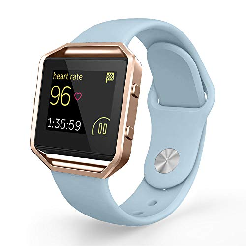 UMTELE Compatible Fitbit Blaze Bands, Sport Silicone Replacement Strap [Pin-Tuck Closure] Frame Fitbit Blaze, Large, Light Blue