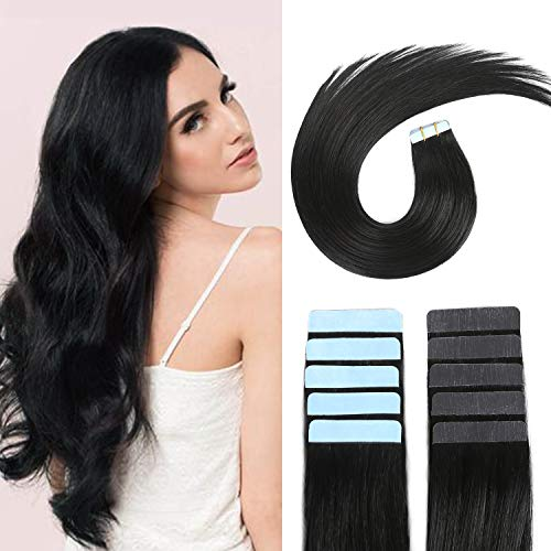 SUYYA Tape in Hair Extensions 100% Remy Human Hair 20 inches 20pcs 50g/pack Straight Seamless Skin Weft Tape Hair Extensions(20 inches Color 1 Jet Black)