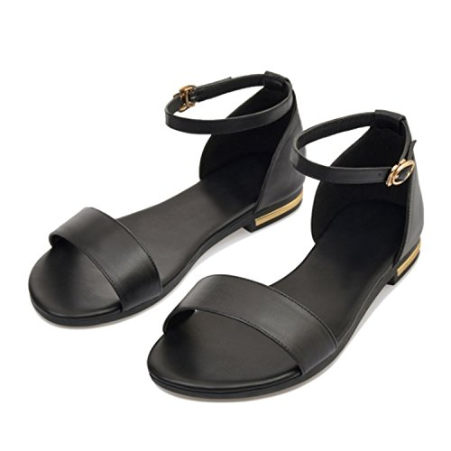 Plus Women Fashion 010 Leather New Flats 8 Woman Casual Sandals black Strap Shoes 34 Size 43 Buckle Zcaosma Genuine fRwqXX