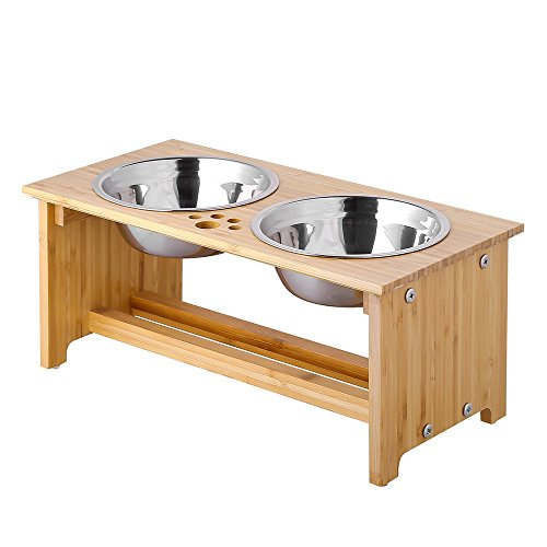 (FOREYY Raised Pet bowls for Small and Medium Dogs - Bamboo Elevated Dog Cat Food and Water Bowls Stand Feeder with 2 Stainless Steel Bowls and Anti Slip Feet - Patent Pending (New 7'' Tall))