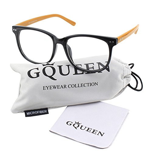 Glasses Queen 201581 Large Oversized Frame Horn Rimmed Clear Lens Glasses,Black Brown