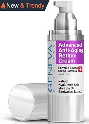 Retinol Face Moisturizer - Natural Swiss Anti-Aging Night Wrinkle Reducer Features Hyaluronic Acid, Coconut Oil, Moringa Oil, Vitamin C & E - Men and Women