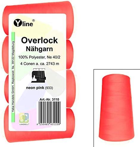 4 Stück Spulen Overlock - Nähgarn, neon pink, a. 2743 m, NE 40/2, 100% Polyester, Nähfaden, Nähmaschinen Garn, 3110