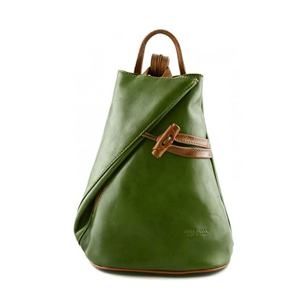 Made In Italy Leather Backpack For Women With Zipped Straps Color Green Tuscan Leather - Backpack - more-bags