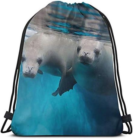 海底シールドローストリングバックパックショルダーバッグ軽量女性用36 x 43cm
