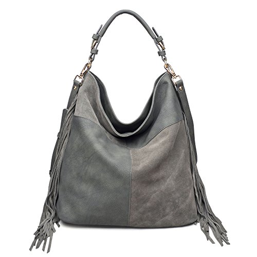 Moda Luxe Women's Fringe Posh Hobo, Genuine Leather, Assorted Colors