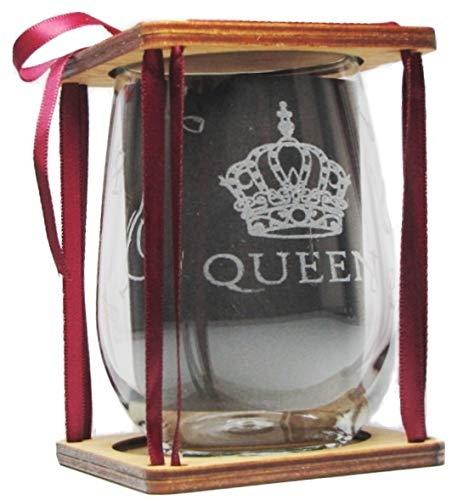 360 Degree Engraving around Glass QUEEN 360 Degree Engraved Stemless Wine Glass