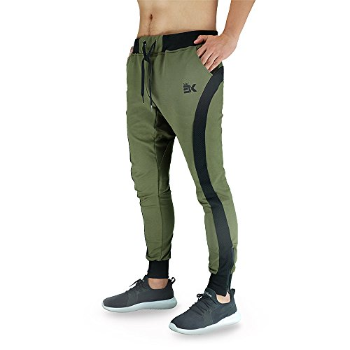 Zenwow Mens Gym Joggers Pants Casual Running Trousers Training Workout Sweatpants Tracksuit Bottom With Pockets(Medium=(Tag L), Olive)