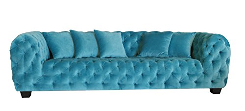 Pasargad Carpets SOFA-6365 Casa Milano Collection Velvet Tufted Sofa, 98″ x 40.5″