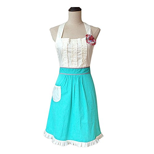 c Style Women's Cooking Apron Kitchen Apron Baking Apron with Pocket Great Gift for Wife Ladies Macara Dragon White&Blue (Adult Women) ()