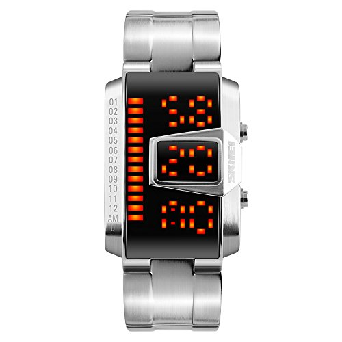 Binary LED Digital Waterproof Watch Mens Classic Creative Fashion SilverPlated Wrist - For Binary Watches Men