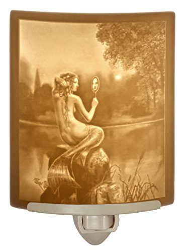 (Mermaid & Mirror Lithophane Night Light Art By David Delamare - Fine Porcelain)
