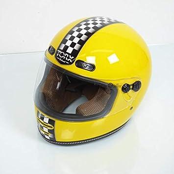 Torx Casque Moto Route Vintage Barry Legend Racer Yellow Shiny