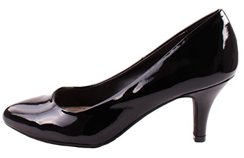 Cityclassified comfort Womens James-H Patent Leather Almond Toe Slip On Mid Heel Pumps Black lga2Aarjsv
