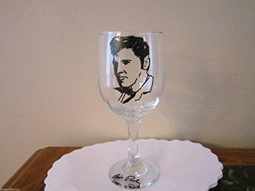 Hand Painted Glass Elvis Stemware,12 oz Wine Glass