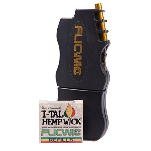 Hemp Wick Dispenser Lighter Case With 12' I-Tal Hemp Wick Spool (Black) by FlicWic