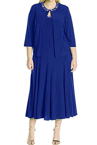 Royal Chiffon Dunkel La Damen Abendkleider Partykleider Brautmutterkleider Braun mia Kurzes Blau Langarm Braut wY6qPgB6