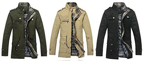 Kobwa(TM) Mens Winter Classic Pea Coat Long Hooded Trench Coat with Kobwa's Keyring