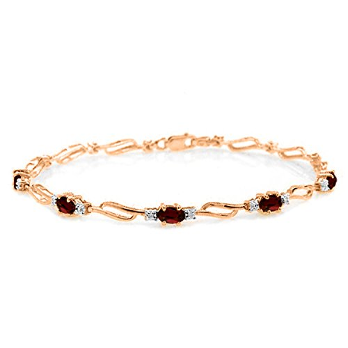 14K Solid Rose Gold Tennis Bracelet withGarnets & Diamond